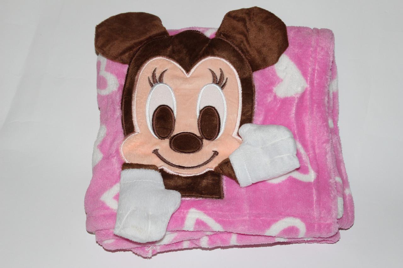 Детский плед Микки розовый