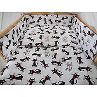 Комплект в кроватку Хатка Коты бело-черный