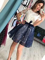 Изумительный женский костюм (фабричный Китай, пышная юбка фатин + блузка, короткий рукав) РАЗНЫЕ ЦВЕТА!