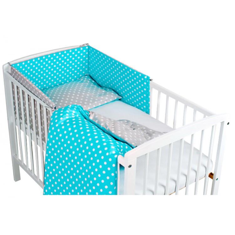 Комплект в кроватку Хатка Вдохновение бирюзовый с серым