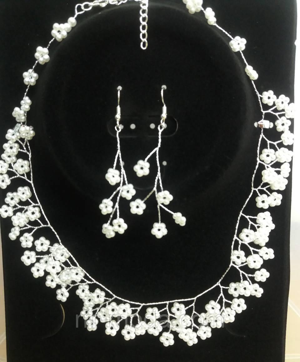 Свадебные наборы бижутерии. Плетенные свадебные ожерелья оптом. 237