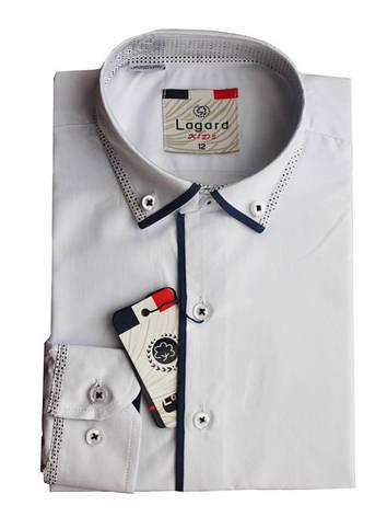 Рубашка для мальчика белая с синей отделкой приталенная длинный рукав Lagard, фото 2