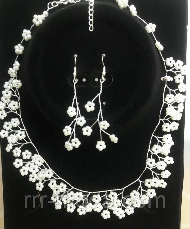 Свадебные украшения. Свадебные наборы и комплекты - плетенные ожерелья и серьги оптом.