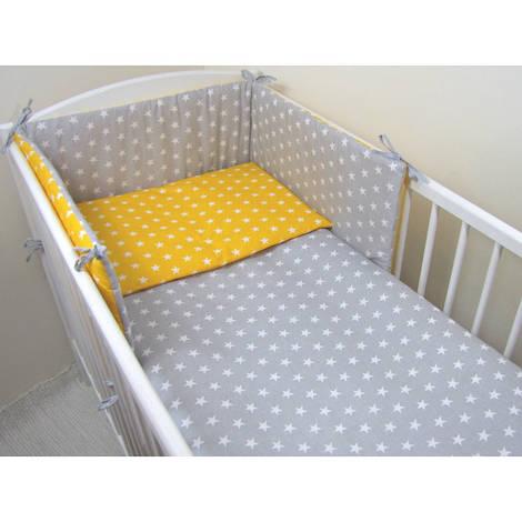 Комплект в кроватку Хатка Осень желто-серый