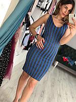 Летнее женское платье в полоску (фабричный Китай, люрекс, длина мини, декольте, облегающее)
