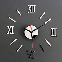 Часы настенные 3-d серебро зеркальные римские цифры