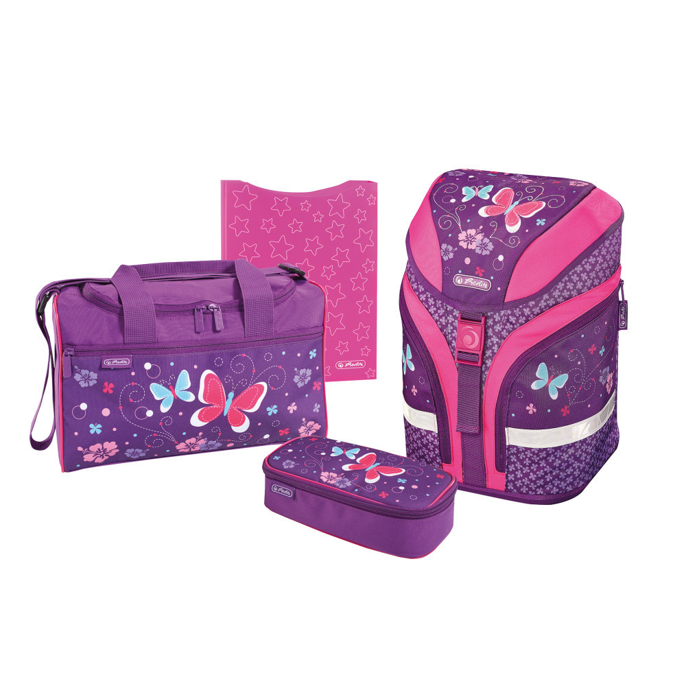 Ранец школьный укомплектованный Herlitz MOTION PLUS Butterfly Purple