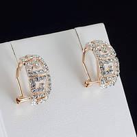 Богатые серьги с кристаллами Swarovski, покрытые слоями золота 0798