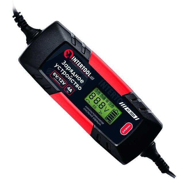 Зарядное устройство 6/12В, 1/2/3/4А, 230В,макс емкость заряжаемого аккумулятора 1.2-120 а/ч INTERTOOL AT-3024