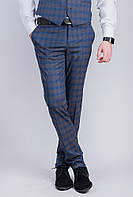 Брюки мужские классические, слегка зауженные №276F020 (Серо-синий)