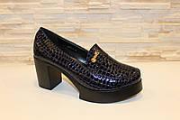 Туфли женские синие лаковые на каблуке Т891 р 41