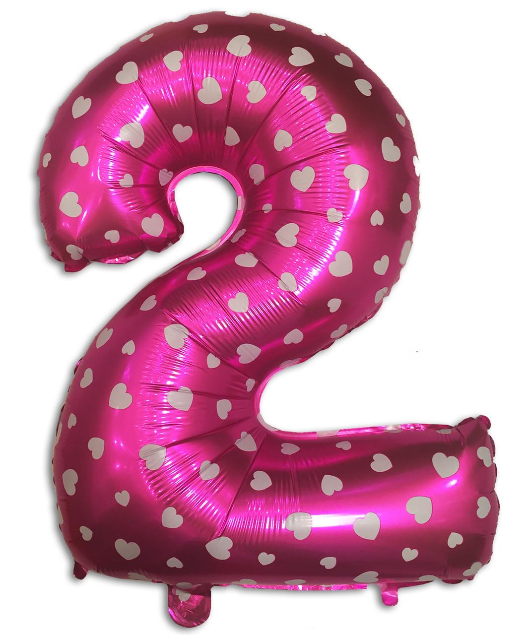 Фольгированный шар цифра 2 розовый 35 см