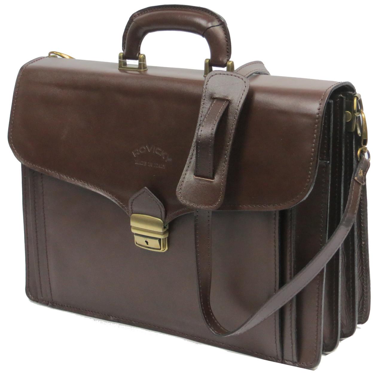 Портфель з натуральної шкіри Rovicky AWR-6-2 темно-коричневий