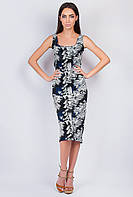 Платье-футляр ниже колена №279F015 (Черно-синий)
