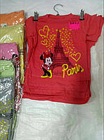 Футболки для девочек на 1-4 лет розового, серого, салатового, оранжевого цвета Париж оптом
