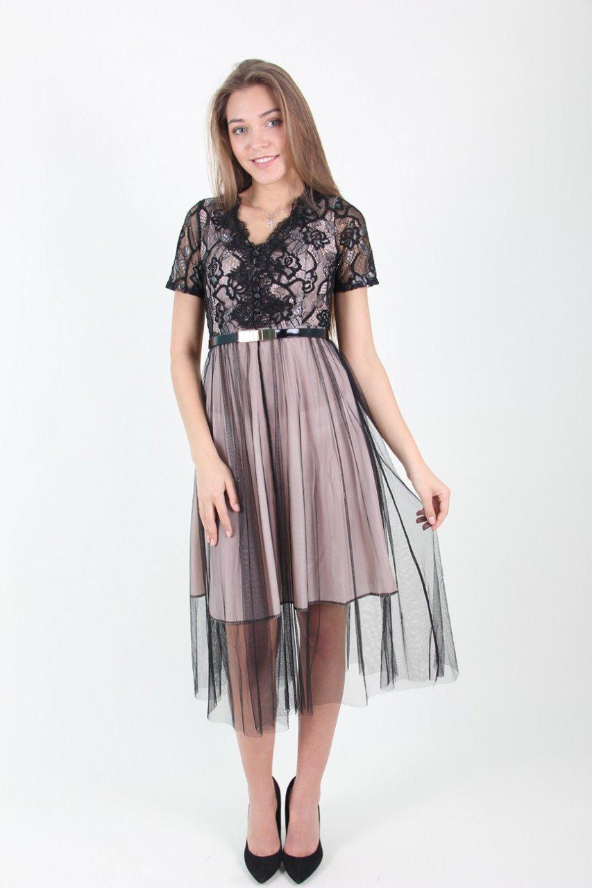 Нарядное молодежное платье миди с фатиновой юбкой