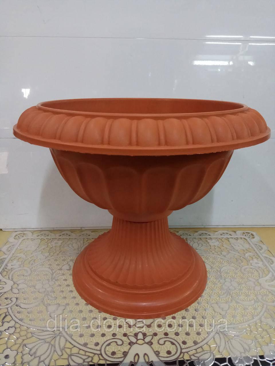 Горшок для цветов пластиковый Вазон на ножке, диаметр 42 см высота 34 см, 2905