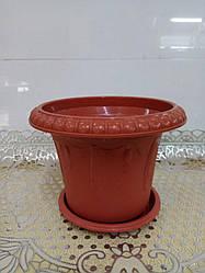 Горшок для цветов пластиковый, диаметр 14 см,2501