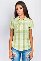 Рубашка женская в клетку 554KC001-1 (Оливково-молочный)