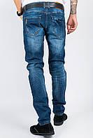 Джинсы мужские с потертостями 581KY001 (Темно-синий)