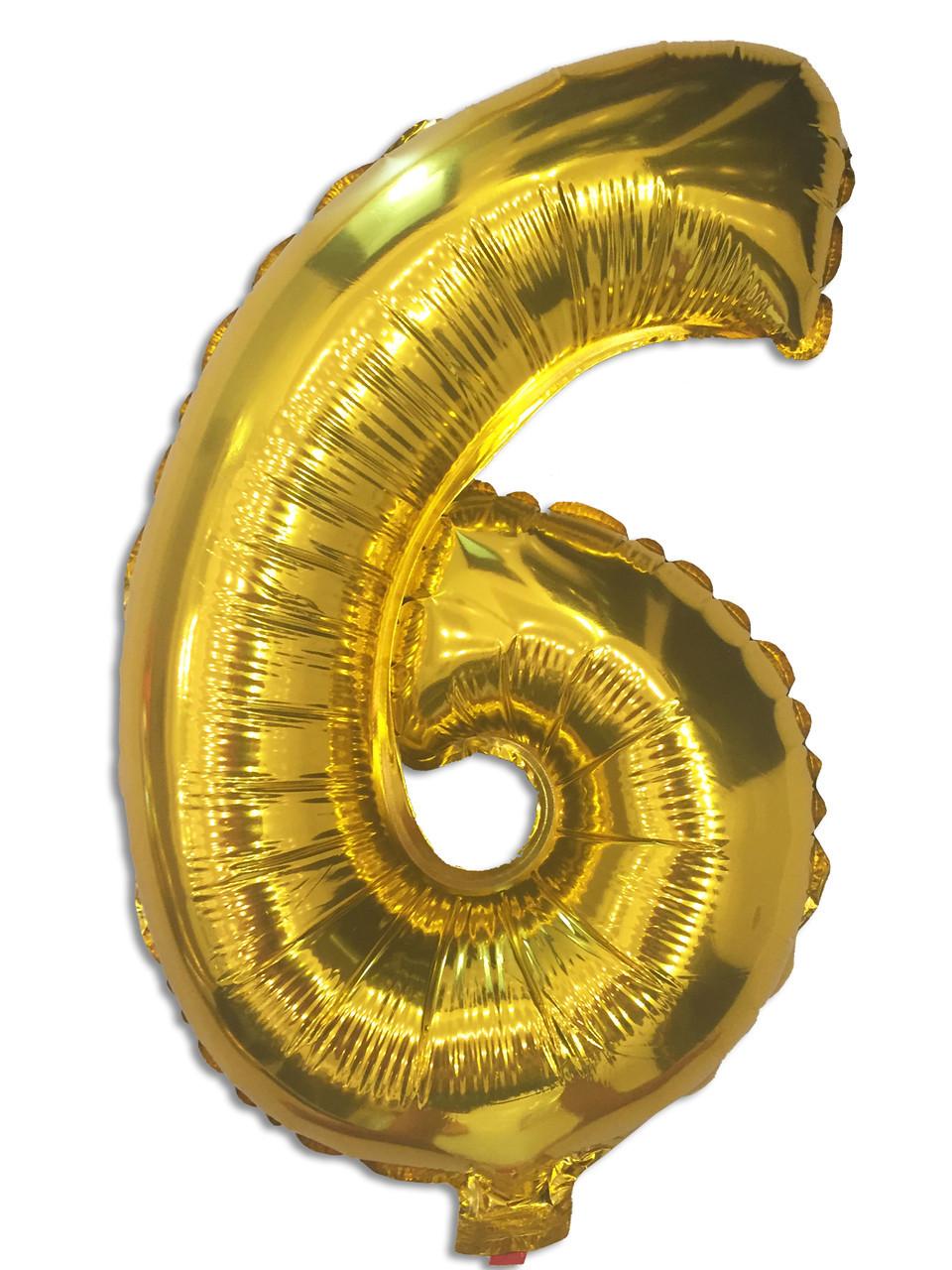 Фольгированный шар цифра 6 золото, 80 см
