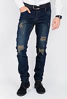 Джинсы рваные мужские 136F028 (Темно-синий)