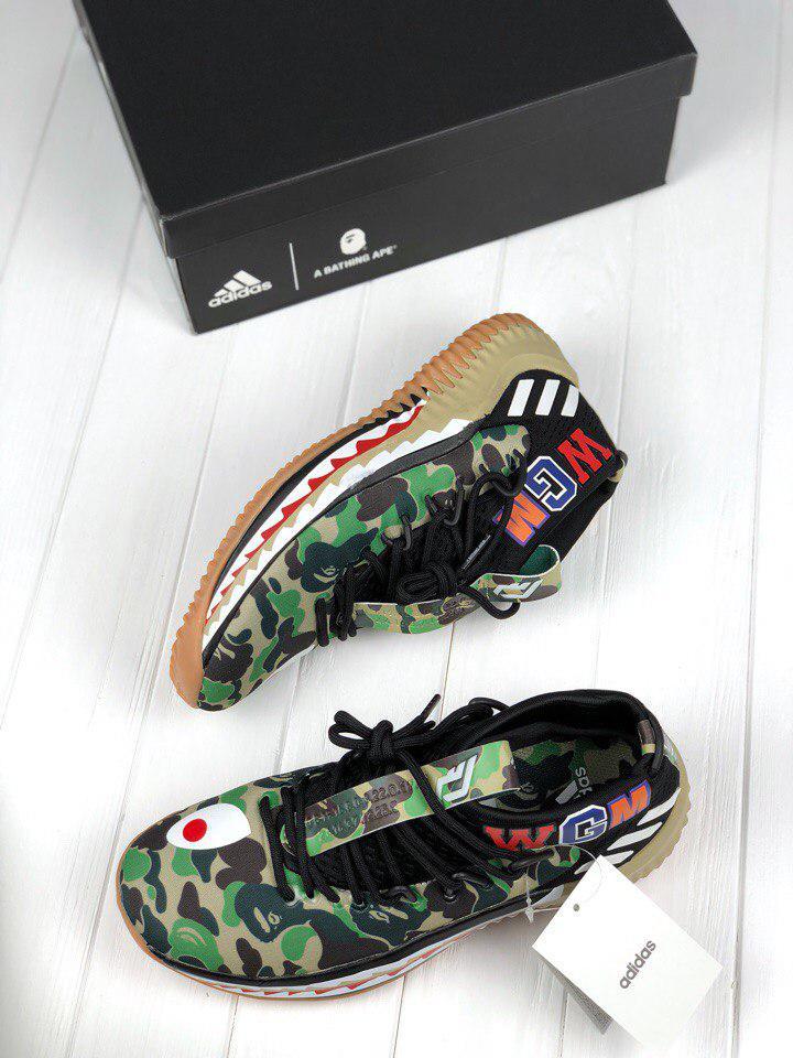 мужские кроссовки Bape X Adidas Dame 4 Camo Green реплика ааа