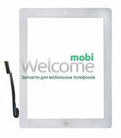 Сенсор iPad3, iPad4 touchscreen+home button+flex white тач скрин для планшета