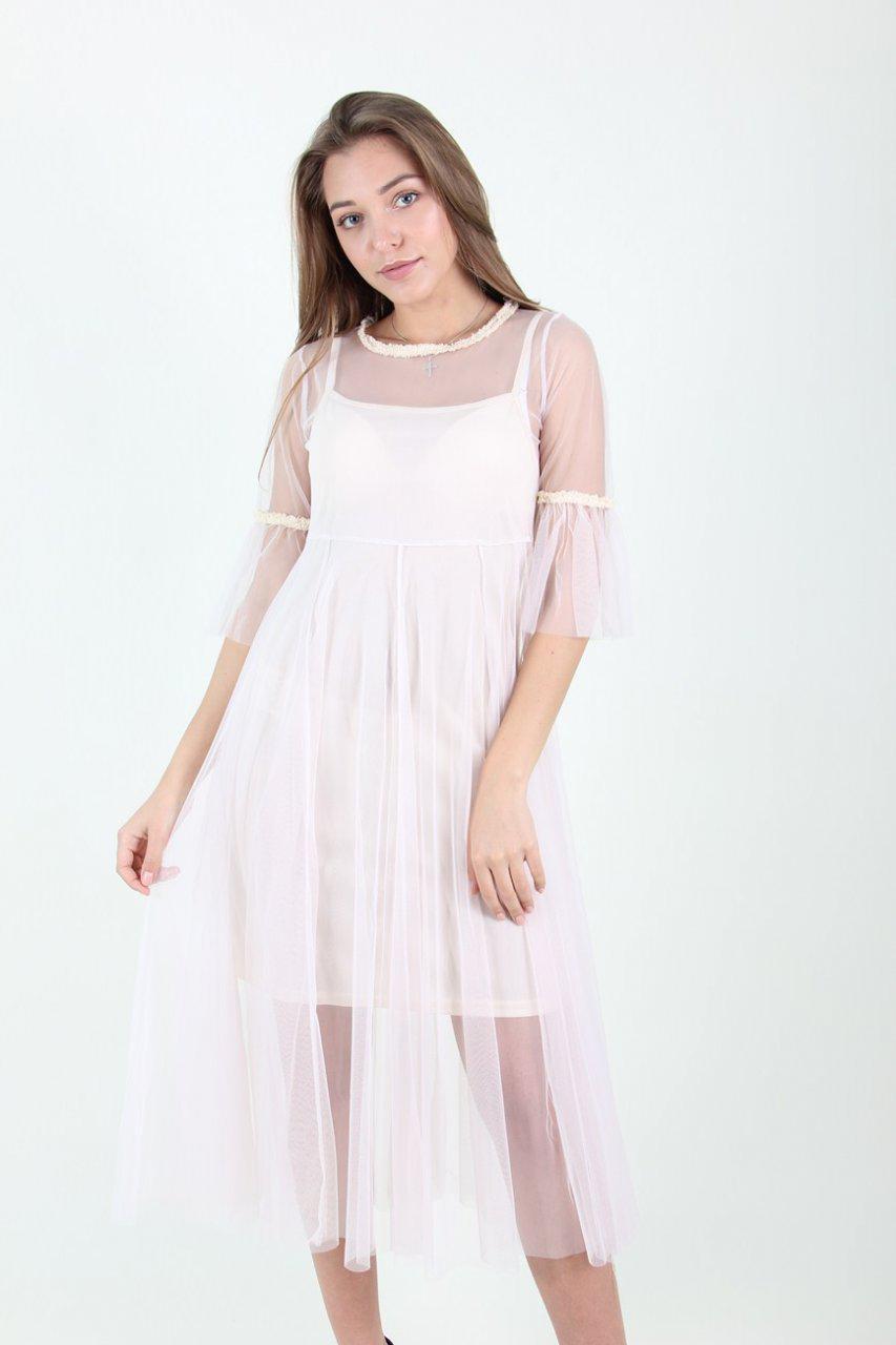 Молодежное белое платье з накидкой из фатина