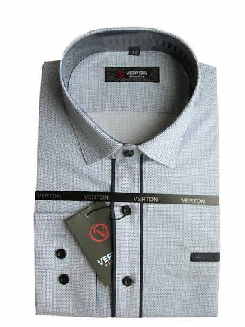 Рубашка для мальчика подростковая притал. белая с принтом отделана черным длинный рукав Verton, фото 2