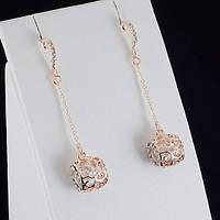 Удивительные серьги с кристаллами Swarovski, покрытые слоями золота 0411