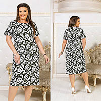 Красивое приталенное платье из льна с принтом цветов, батал большие размеры