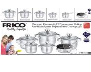 Набор кастрюль Frico FRU-734, 12 предметов 2,1 / 2,1 / 2,9 / 3,9 / 6,5 / + сковорода 3,3 л.