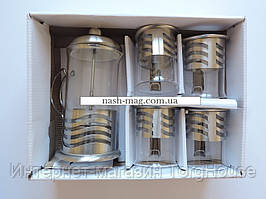 Набор заварник (пресс) FRICO FRU-330, 600 мл. + 4 чашки 200 мл.