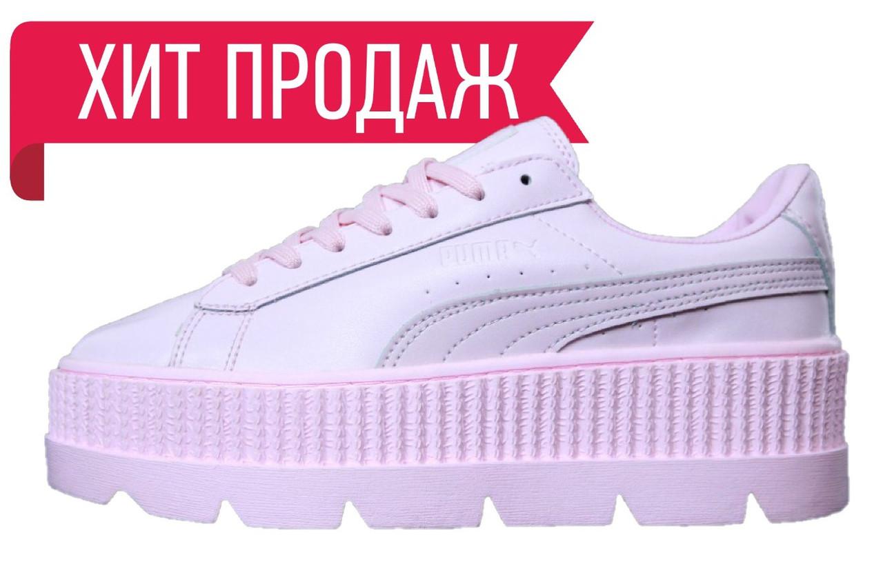 Женские кроссовки Rihanna x Puma Fenty Cleated Creeper Pink (рианна x пума  фенти розовые, acfc19f97fe