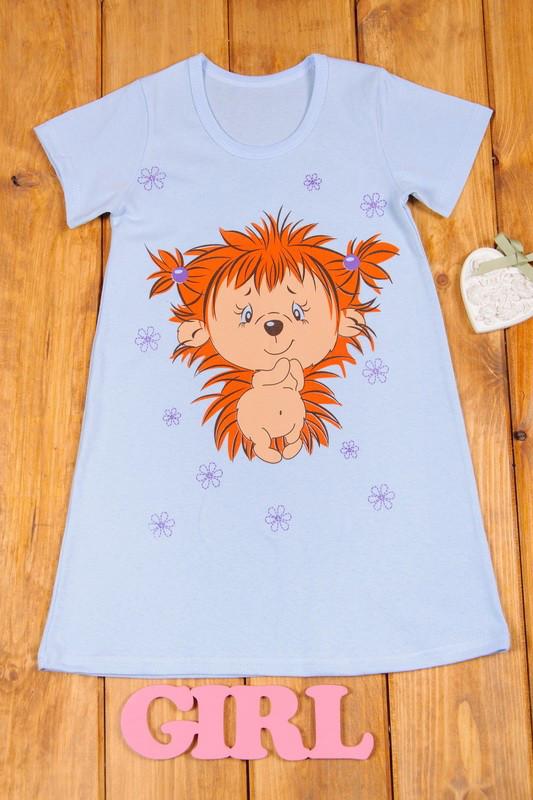 Ночная сорочка для девочки Соня короткий рукав (Голубая 98)