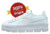 Женские кроссовки Rihanna x Puma Fenty Cleated Creeper White (рианна x пума фенти белые, на платформе)