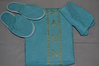 """Набор для сауны Merzuka женский """"Голубой"""" (Тапочки, шапочка, полотенце) махра - Турция"""
