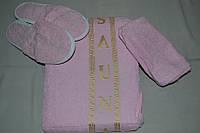 """Набор для сауны Merzuka женский """"Светло-розовый"""" (Тапочки, шапочка, полотенце) махра - Турция"""