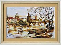 """Набор для вышивания нитками на канве с фоновым рисунком """"Прага. Карлов мост"""", 40*25см"""