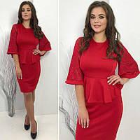 2eb10101e49 Женское офисное платье с баской и рукавом 3 4 БАТАЛ