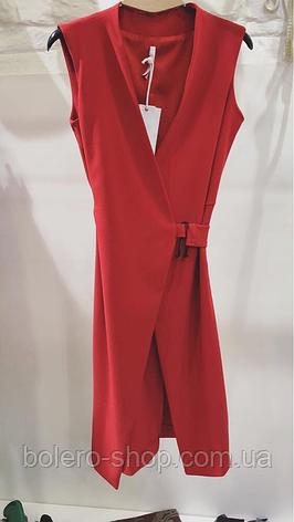 Женская жилетка удлиненная красная безрукавка, фото 2