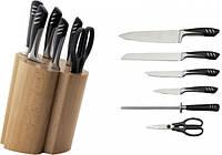 Набор ножей AURORA AU-854, 6 предметов, металлические ручки, деревянная подставка