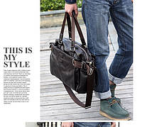 Городская сумка. Мужская кожаная сумка. Дорожная сумка. Сумки из кожи. Удобная сумка. Код:КСГ1-1