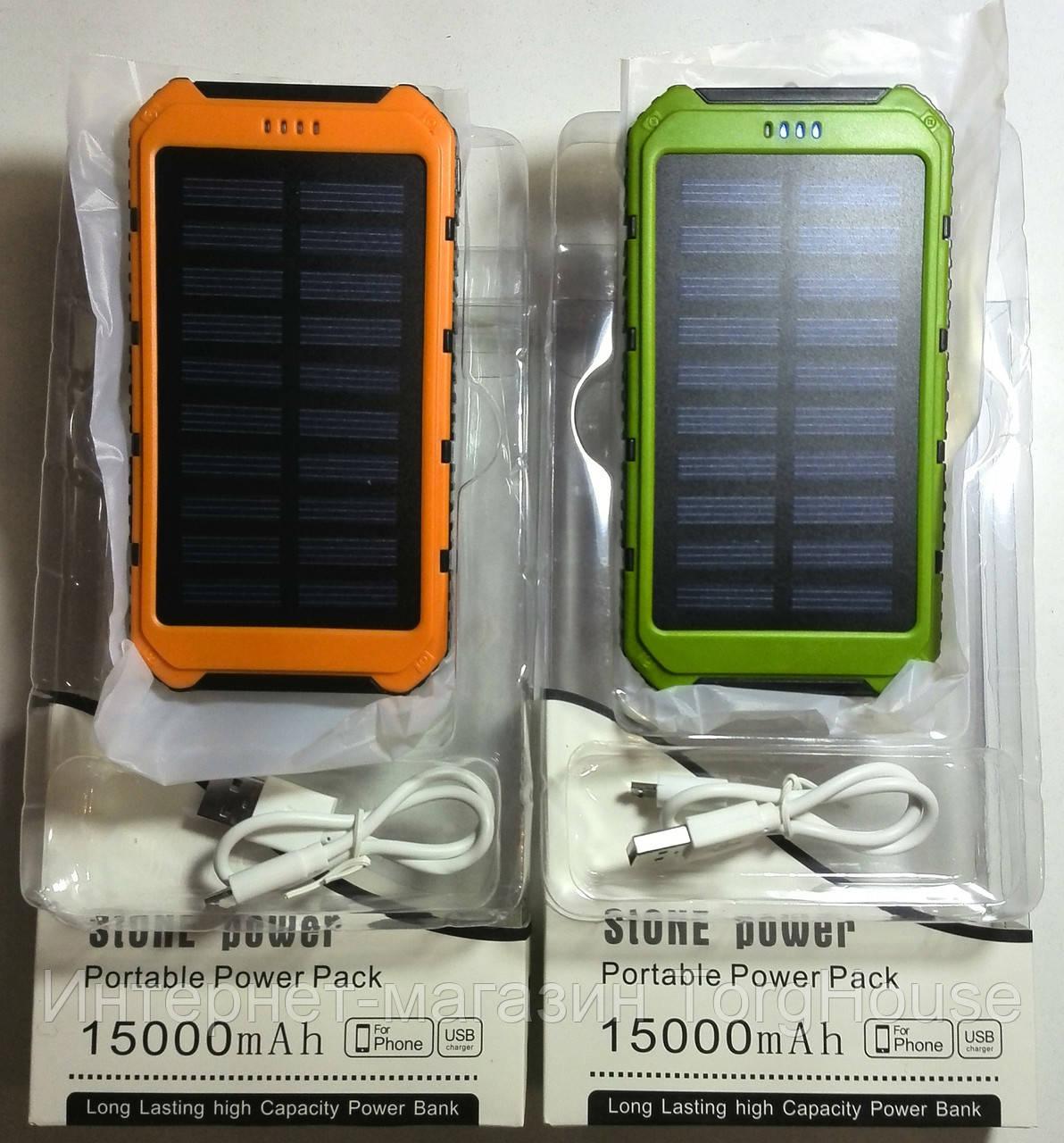 Solar Power Bank (iPower) 15000mAh + LED фонарь (2 USB)