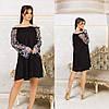Свободное платье разлетайка с открытыми плечами и длинными рукавами с вышивкой, фото 2