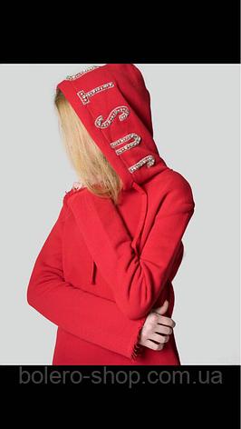 Кофта свитшот удлинённая женская красная котон Just Casta, фото 2