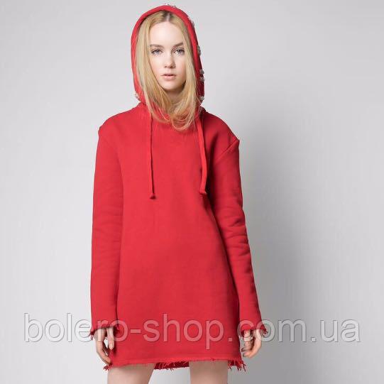 Кофта свитшот удлинённая женская красная котон Just Casta