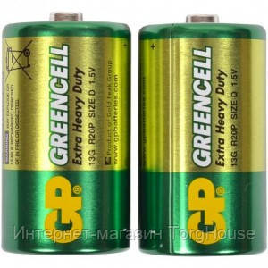 Батарейка GP 13G-S2 Greencell R20, D
