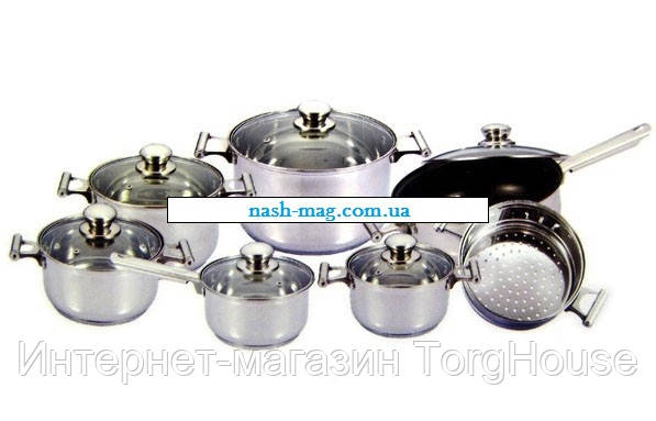 Набор кастрюль Frico FRU-736, 13 предметов 2,1 / 2,1 / 2,9 / 3,9 / 6,5 / + сковорода 3,3 л. + пароварка